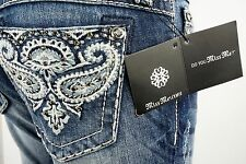"$108 Miss Me Jean ""Crystal Studded Paisley"" Boot Cut 26 X 33"