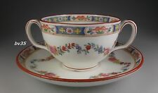 MINTON MINTON ROSE 2 BOUILLON SOUP CUP & SAUCER SETS  (older, globe backstamp)