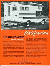 "Vintage Sales Brochure: ""THE FABULOUS CALIFORNIAN"" Camper"