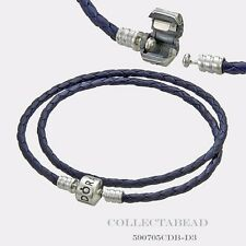 "Authentic Pandora Silver Double Blue Braided Leather 16.1"" Bracelet 590705CDB"
