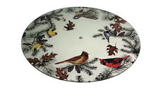 Glass Cardinal Finch Chickadee Birds on Branches Lazy Susan Kitchen Turntable