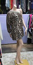 Stunning Leopard Skin Print One Shoulder+ Diamante Eve Short Dress / Top / Tunic