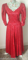 LAURA ASHLEY Vintage RED HEAVY DAMASK COTTON 80's ball gown / dress 12 14 40 NEW