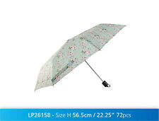 Millie Floral Folding Umbrella Green Pink Rose Rain Weather Women's Girls