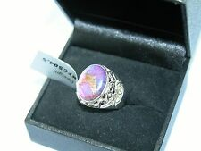LOT 443 STUNNING OVAL PURPLE COPPER TURQUOISE SOLID STERLING SILVER RING SIZE J