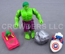 "Marvel 5"" Incredible Hulk w/ Boulder She Hulk Car & Captain America Car 1990"