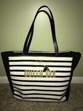 Kate Spade Queen Bee Shoulder Bag Striped Leather Black White Tote Purse Spring