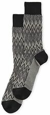 MISSONI Italy Men's Zig-Zag Stripe Crochet-Knit Dress Socks Chevron S Grey *NWT*