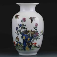 Chinese Color Porcelain Hand-Painted Bird & Peony Flower Vase  G424