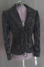Black Velvet Fitted Embroidered Jacket 4P