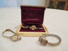Lot of Three Vintage/Antique Women's Wristwatches by Bulova Caravelle/Miss Am,