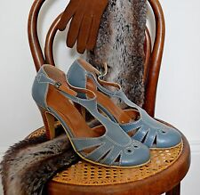 Vintage blue 1920's 30's HEELS cut out MARY JANE t-bar TOPSHOP flapper 5 38