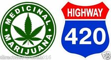 2 Marijuana Cannabis Weed Pot 420 Leaf Sticker Vinyl Decals 4""