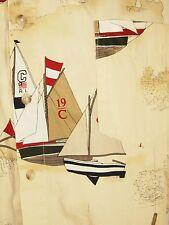 Chaps Ralph Lauren Beige Sailboats Nautical Maps Sailing Mens L Large Cotton