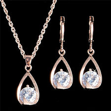 Elegant Rose Gold plated Clear Crystal Earrings Pendant Necklace Jewelry Set UK