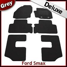 Ford S-Max 7-Seater 2006-2012 Oval Clips Tailored LUX 1300g Carpet Car Mats GREY