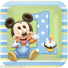 Disney Baby Mickey Mouse DESSERT PLATES 1st Birthday Party Supplies Tableware