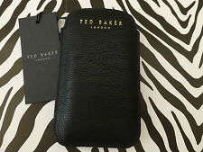 TED BAKER GG55 iPhone 4 Case Universal Phone Pouch Black Grain Pu Sleeve BNWT