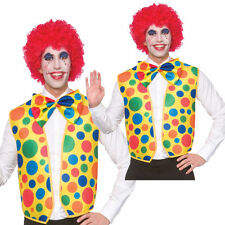 Circus Clown Kit Spotted Waistcoat + Bow Tie Adults Fancy Dress
