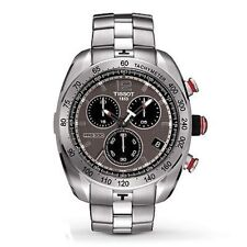 TISSOT PRS 330 CHRONOGRAPH DATE ST.STEEL MEN'S WATCH T076.417.11.067.00 NEW