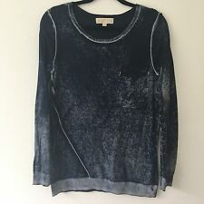 Michael Kors Ombré Textured Jumper In Navy Blue Soft Pure Cotton Thin Knit