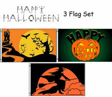 3x5 Happy Halloween 3 Flag Wholesale Set #10 3'x5' House Banner Grommets