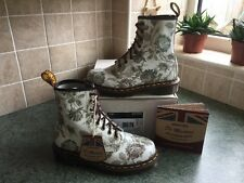 Neuf! Sz4 angleterre dr. martens 1460 victorian gris tapisserie rose cuir EU37