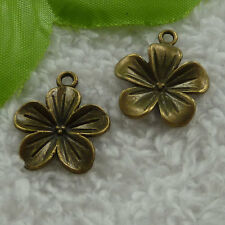 free ship 70 pcs bronze plated flower charms 23x19mm #2915