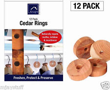 Knight 12 pk Moth Larvae Repeller Killer Hanger Cedar Wood Rings 100% Natural