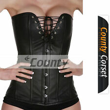 Steel Bone Sexy Overbust Bustier Long Torso V Shape Black Genuine Leather Corset