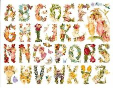 """7.5"""" x 6"""" ~ Alphabet ABC Fairies Angels Girls Flowers Floral Lady Stickers ~"""