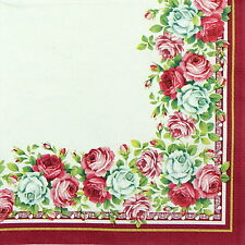 4x Single Table Party Paper Napkins for Decoupage Decopatch Craft Roses Border