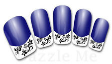 3D Nail Art Decals Transfer Stickers French Tip Design Flowers (3D839)