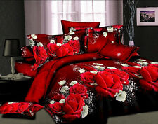 Sale Home 3D Red Rose Duvet Cover Pillowcase Quilt Cover Bed Set Queen Size O