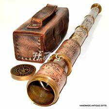LEATHER TELESCOPE MARINE NAUTICAL ANTIQUE BRASS PIRATE SPYGLASS VINTAGE SCOPE