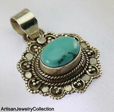 TURQUOISE PENDANT 925 STERLING SILVER ARTISAN JEWELRY COLLECTION H150