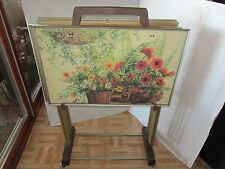 Set 4 TV trays & Cart floral Rose Tables 5 pieces Mid Century Signed TABLES Vtg