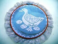 Homemade Wall Hanging White Lace Duck over Blue Background on Embroidery Hoop
