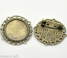 50 Bronze Tone Round Cameo Frame Setting Brooches 32mm(Fit 20.5mm)
