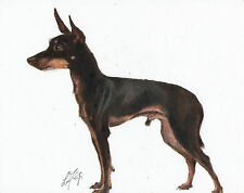 Original Oil Art Toy Manchester Terrier Portrait Painting Dog Puppy Signed