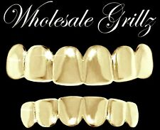 *SALE IMPERFECT GRILLZ* NEW 14k Gold Plated Teeth Grills Top+Bottom HipHop Bling
