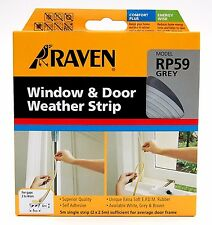 Raven WINDOW & DOOR WEATHER STRIP Self Adhesive Rubber Covers 2-4mm Gap 5m GREY