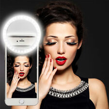 UK Portable Selfie LED Ring Flash Fill Light Clip Camera For iPhone Mobile Phone