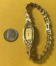 Women's 10K GOLD SEIKO WATCH, Band 17.5 grams Leaf Diamond Cut 7 Inch Band