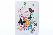 "SAMSUNG GALAXY TABLET TAB 4 10.1"" T530 ANDROID NEW LEATHER CASES WHITE BUTTERFLY"