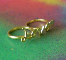 "Gold Plated 2 Finger ""Love"" Brass Knuckle Ring Statement Fashion Ring Size 8"