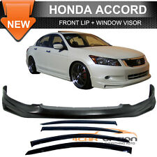 For 08-10 Honda Accord Mugen Type Urethane Front Bumper Lip + Sun Window Visor