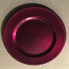 """Lot of 12 Acrylic 13"""" Charger Plates Beaded Rim-Wine Purple - 17 sets available"""