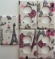 Paris Eiffel Tower Pink Glitter light switch cover Girls Bedroom wall decor set