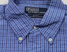 TC7075 POLO by RALPH LAUREN BLAKE Herren-Hemd Blau WEIß KARO Langarm M wie Neu